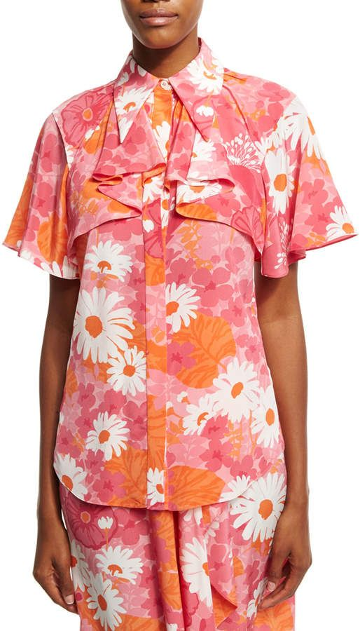 f0a8a54e960a2f Daisy-Print Draped Silk Blouse Pink | Products | Michael kors ...