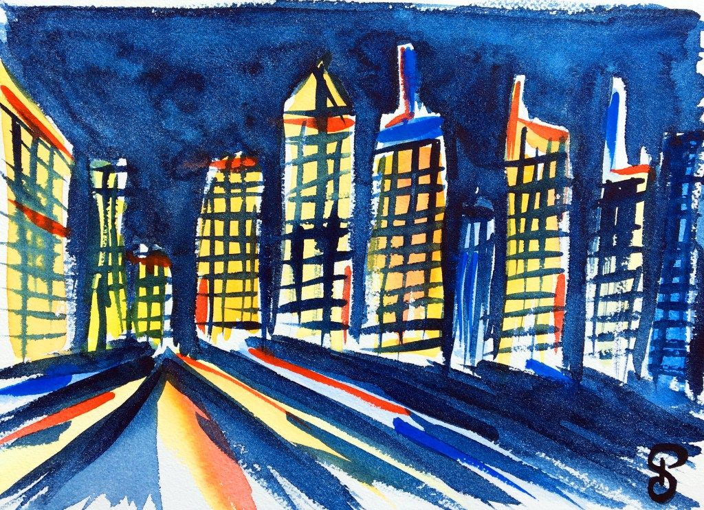 Aquarelles Nyc Manhattan Skyline Aquarelle Manhattan Skyline