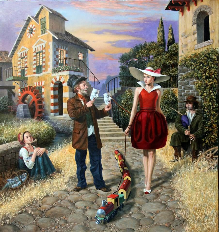 'Last Train To Milan' , made by: Michael Cheval - (Woman with toy train on a leash)