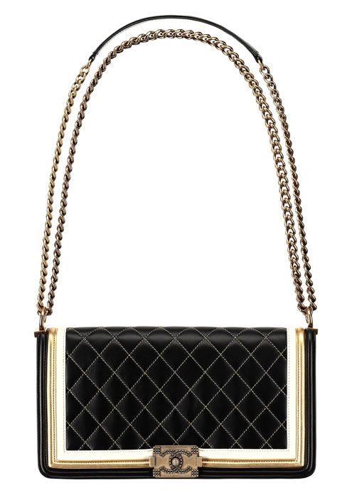 Chanel Golden black and white leather BOY CHANEL