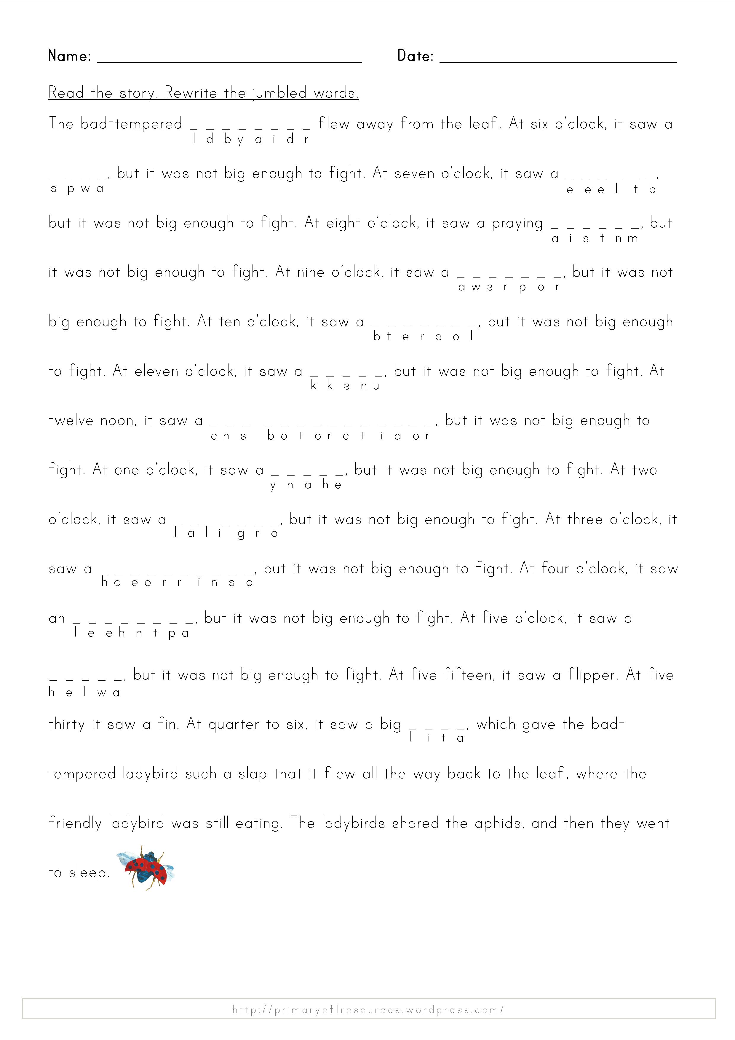 Ladybird Worksheets