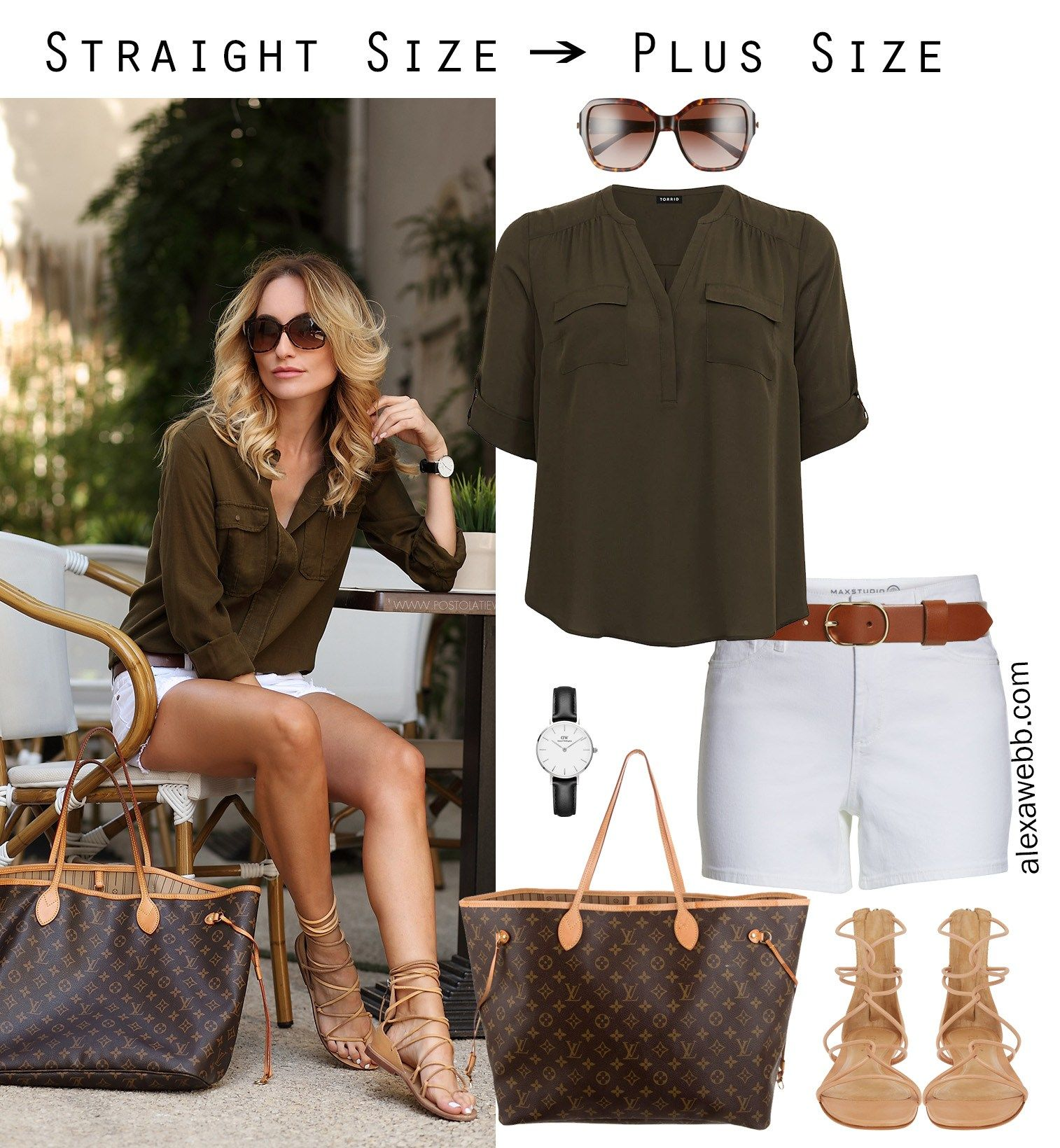 Photo of Straight Size to Plus Size – White Shorts – Alexa Webb