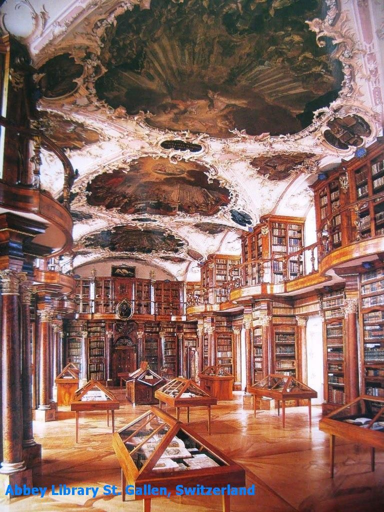 The Abbey Library of St. Gallen, in northeast Switzerland. As of 2005, the library consists of over 160,000 books, of which 2100 are handwritten. Nearly half of the handwritten books are from the Middle Ages and 400 are over 1000 years old. (wikipedia)