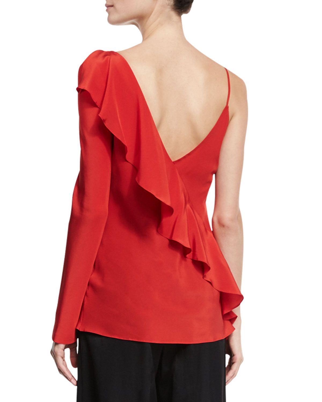 4083e3dc8cdb5 Silk Asymmetric Ruffle Blouse Red   Products   Ruffle blouse, Blouse ...