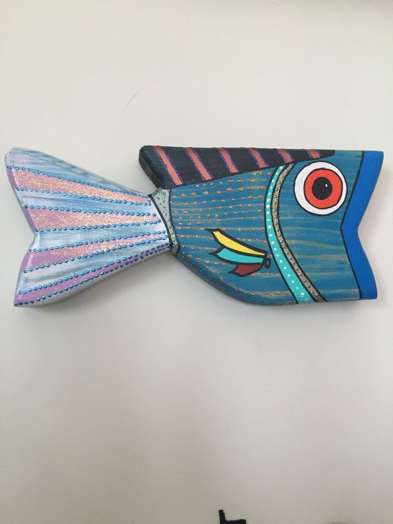 hand painted wooden fish wood art decor un que art