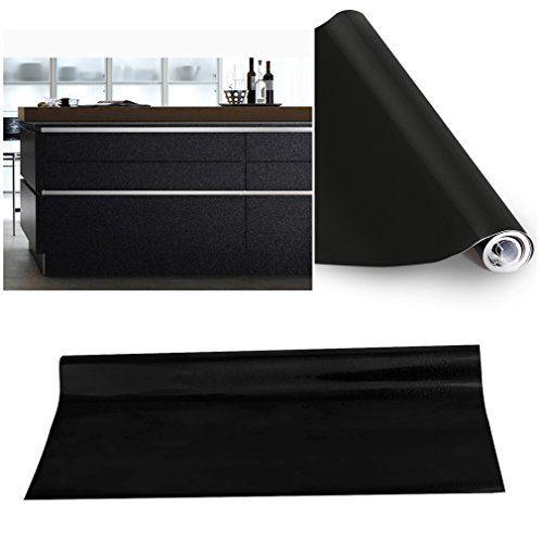 Kinlo 5M061M Papier Peint Auto-Adhésif Noir pour Armoire de Cuisine