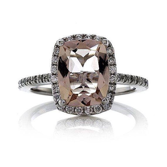 Rectangular Cushion Cut 2.59ct Peach-Pink Morganite FSI1 Diamond Halo .35tw 14kt White Gold Engagement Ring Wedding Anniversary Dinner Ring on Etsy, $2,390.00