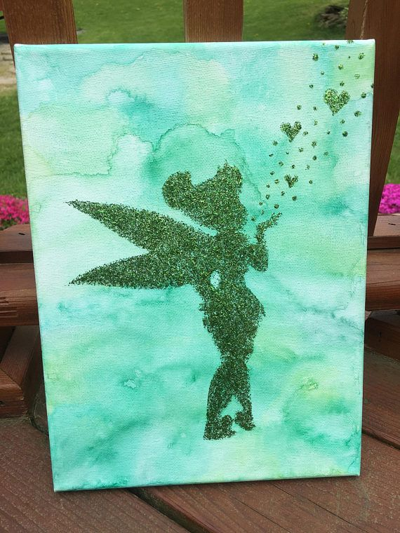 Green Watercolor Tinkerbell Glitter Painting
