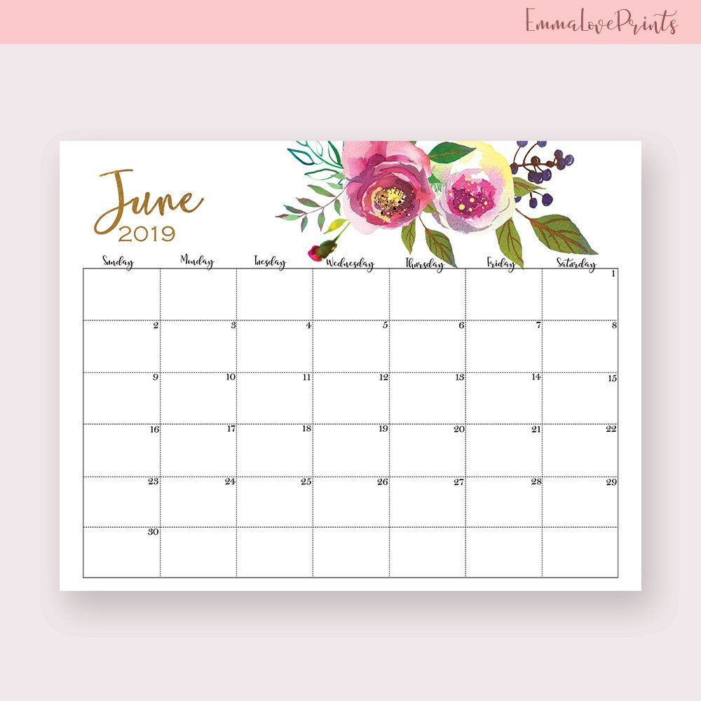 2019 2020 Floral Desk Calendar: June 2019 Wall Calendar Designs