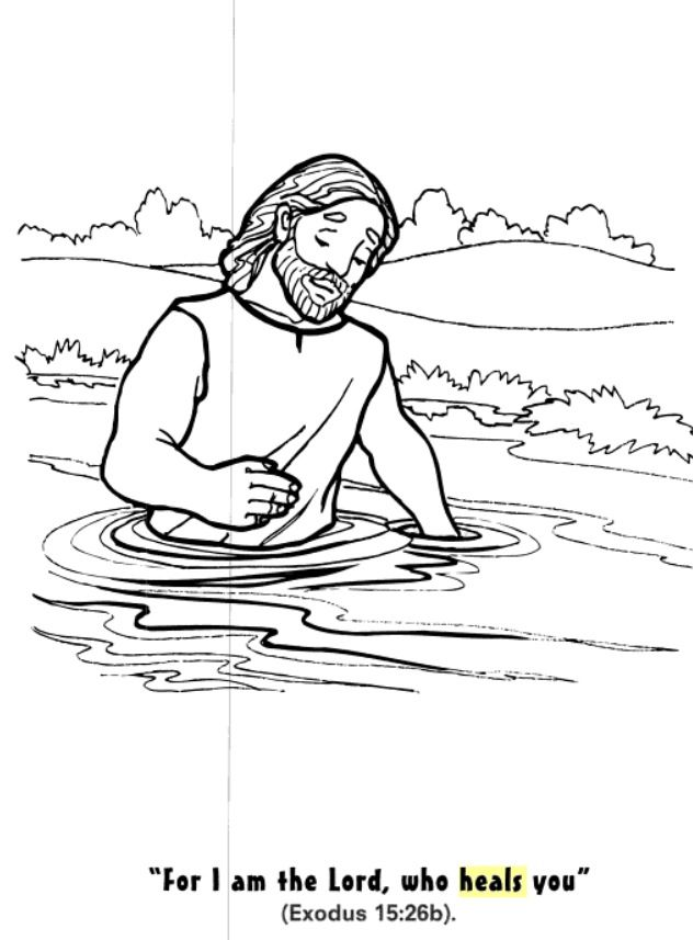 God Heals Naaman coloring page | Bible coloring pages ...