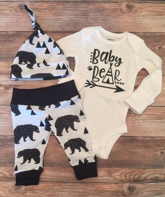 Photo of Black Baby Bear Coming Home outfit, READY TO SHIP, newborn boy coming home outfit, baby boy coming home outfit, hello world name