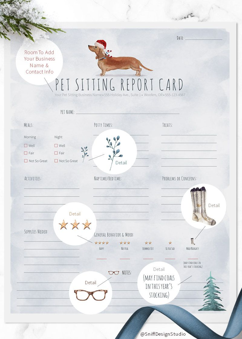 Christmas Themed Pet Sitter Report Cards Pet Sitting Business Dog Daycare Pet Sitters