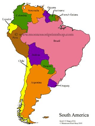 South American Control Maps Blank Colored Labeled Maps Of South America And