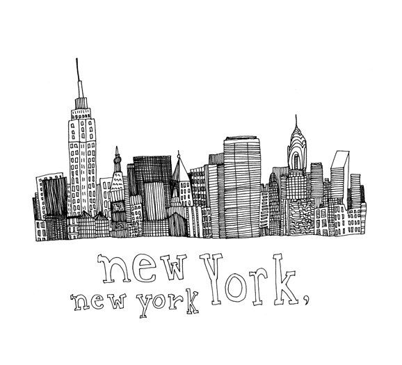 new york new york 5x5 print of original pen and ink drawing verr cktes pinterest zeichnen. Black Bedroom Furniture Sets. Home Design Ideas