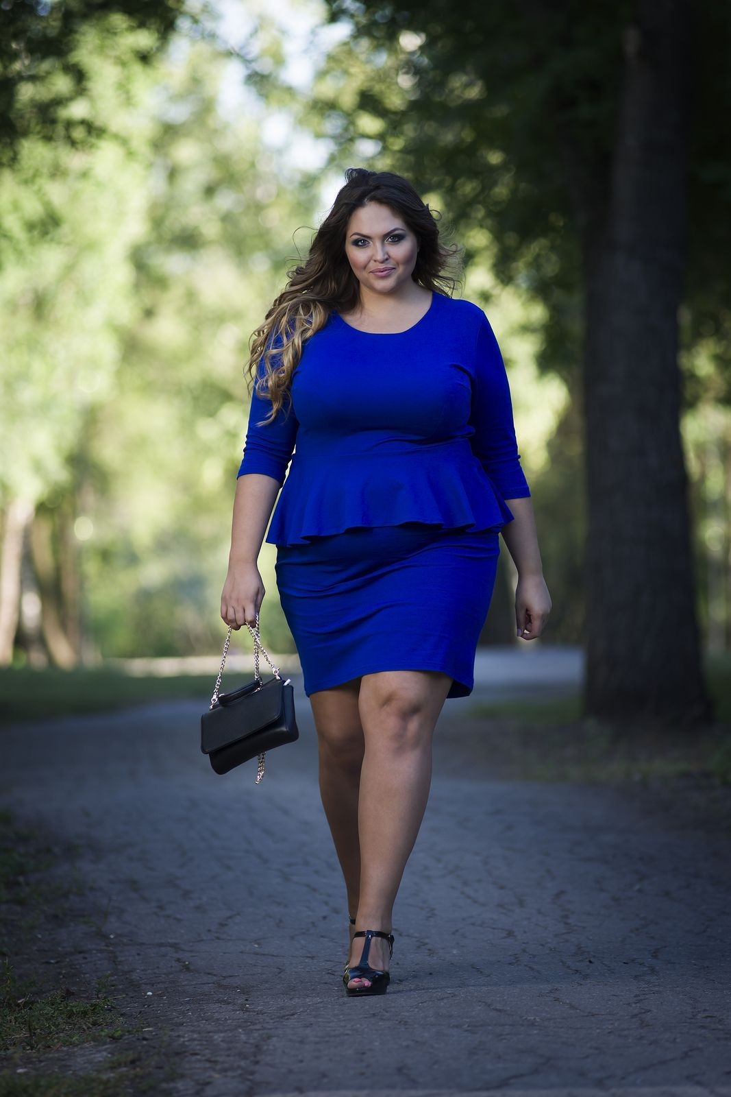 dd88c0b0a955c Young beautiful caucasian plus size fashion model in blue dress outdoors  xxl woman on nature full