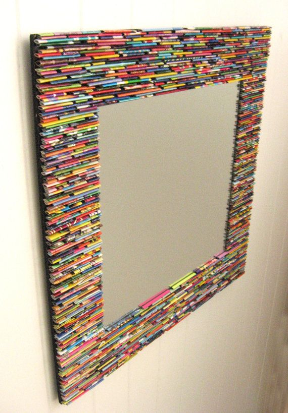 colorful square mirror wall art made from by colorstorydesigns, $150.00