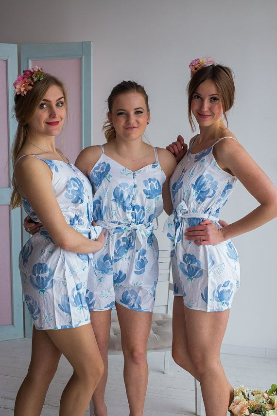 32825663c1dc Bridesmaids Rompers - Belted Slip Style - Dusty Blue Blushing Flowers  Pattern - Getting ready romper