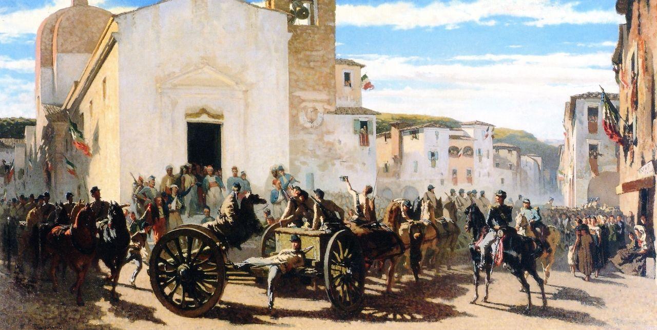 Telemaco Signorini - L'artiglieria toscana a Montechiaro salutata dia francesi feriti a Solferino