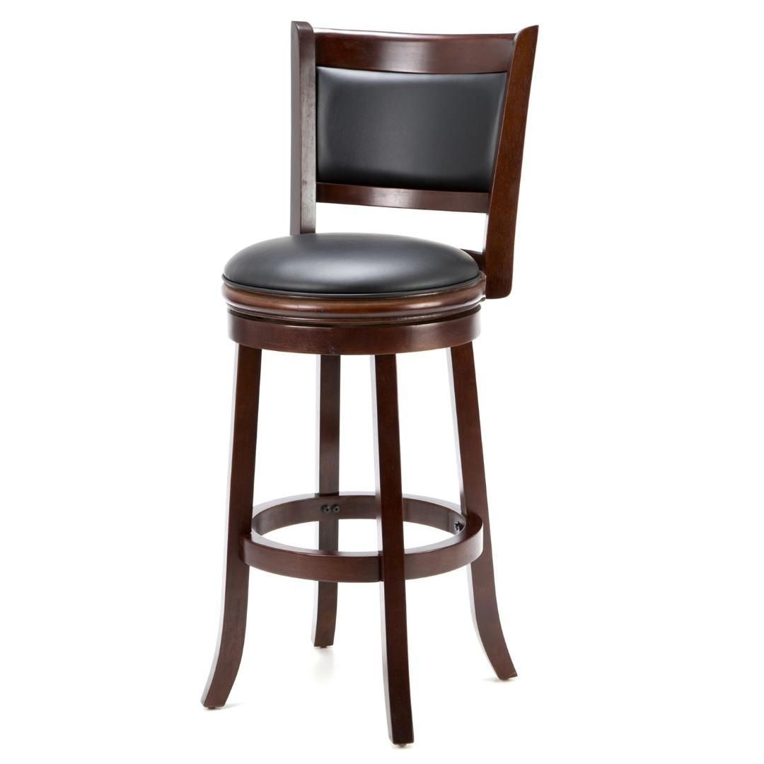 Cherry 29 Inch Solid Wood Bar Stool With Faux Leather Swivel Seat