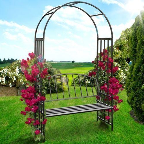 Metal Garden Arch Bench Arbor Gazebo Pergola Patio Chair Seating Outdoor  Feature