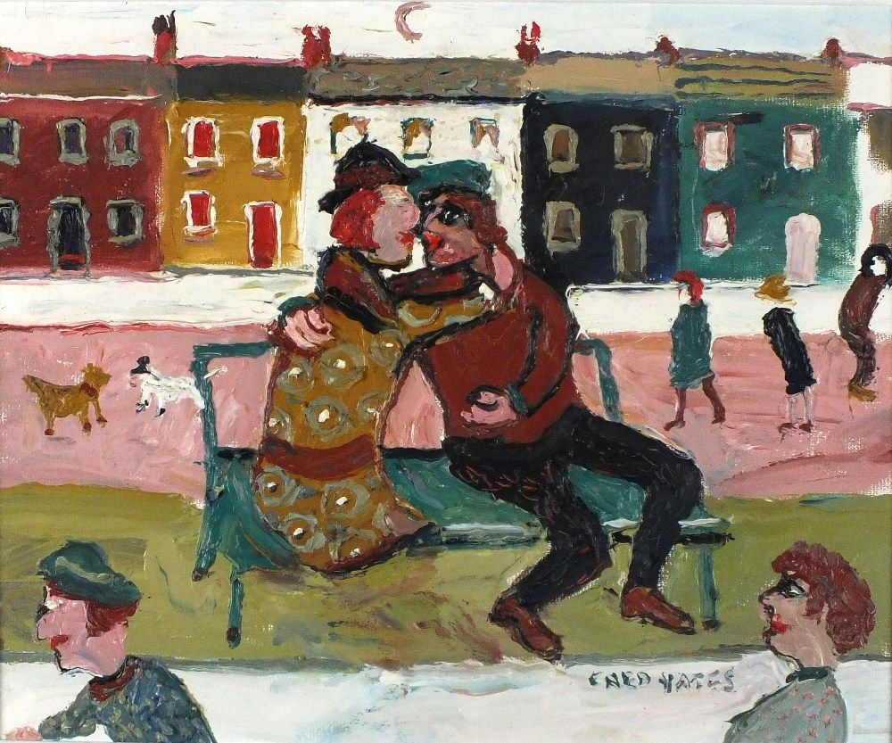 """Lot 135 - * Fred YATES (1922-2008) Oil on canvas 'The Kiss' – figures on a bench Signed 14.25"""" x 17.25(36."""