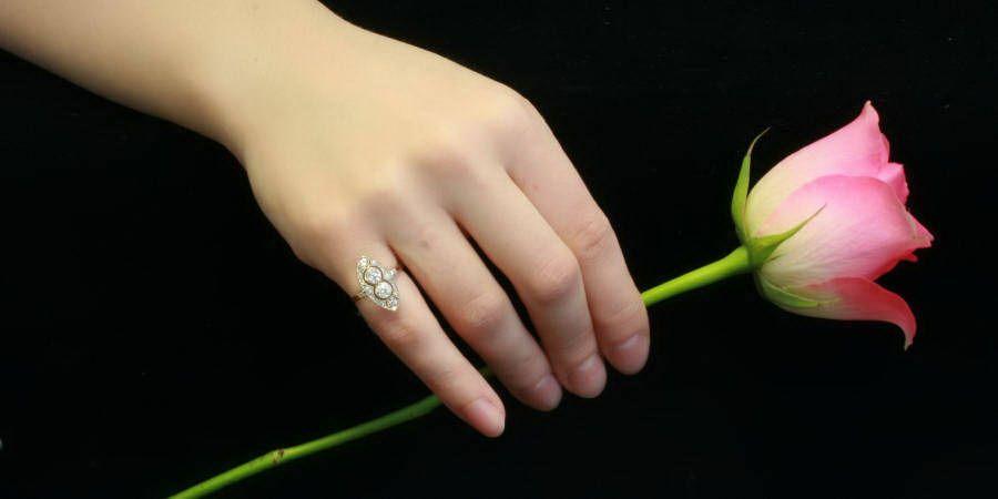 Navette shaped platinum on gold estate diamond engagement ring (image 6 of 9)