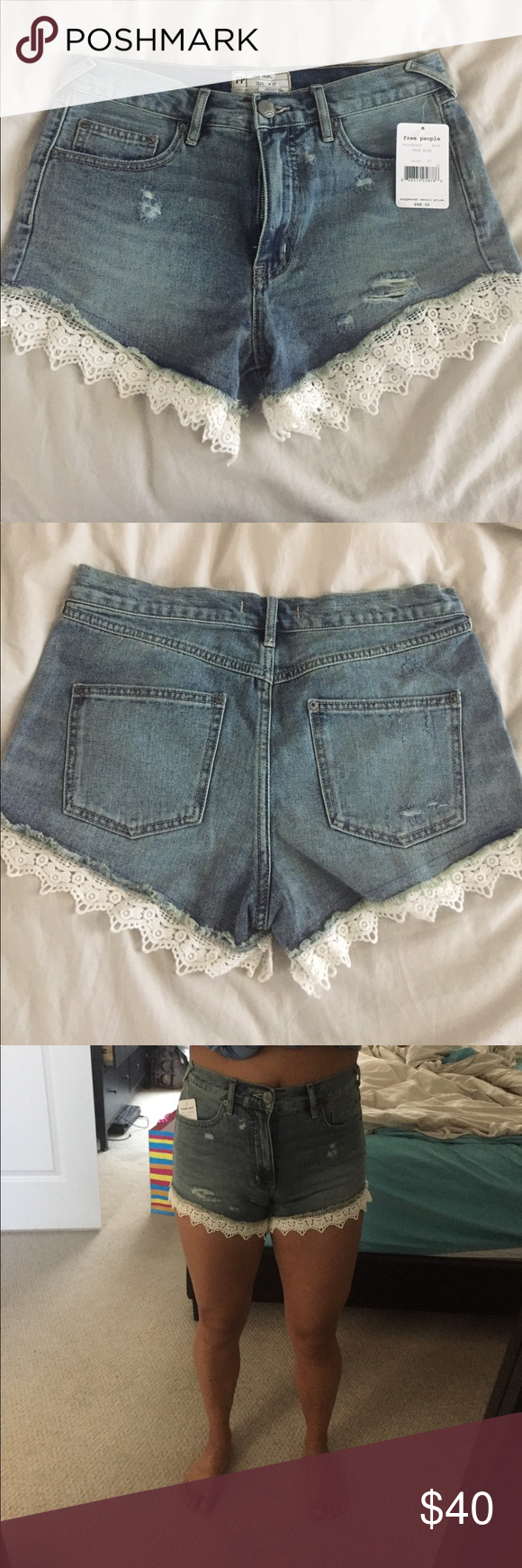 Free People Jean shorts with lace trim Love these shorts! Great to pair anything with! Color is true blue and NWT!! They're a little big on me! Free People Shorts Jean Shorts