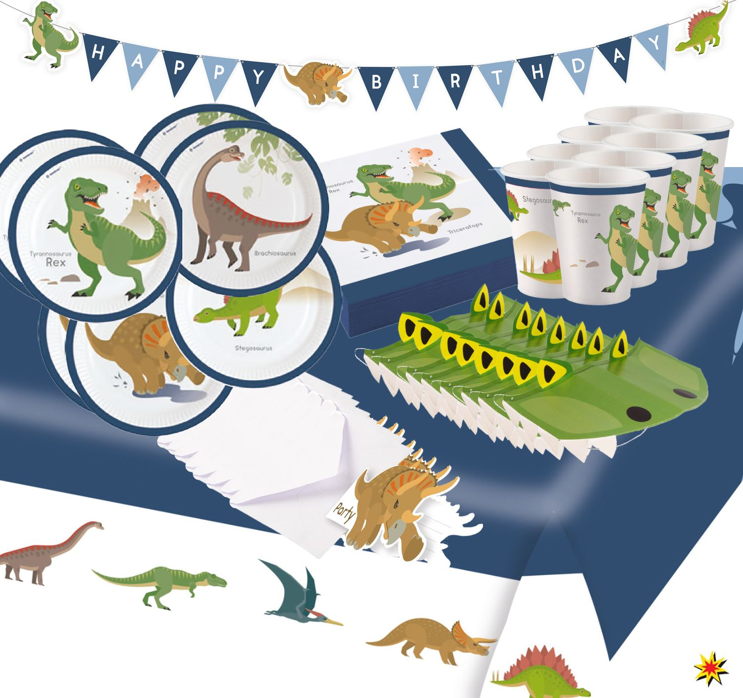Party Set Happy Birthday Kindergeburtstag Dinosaurier T Rex 54