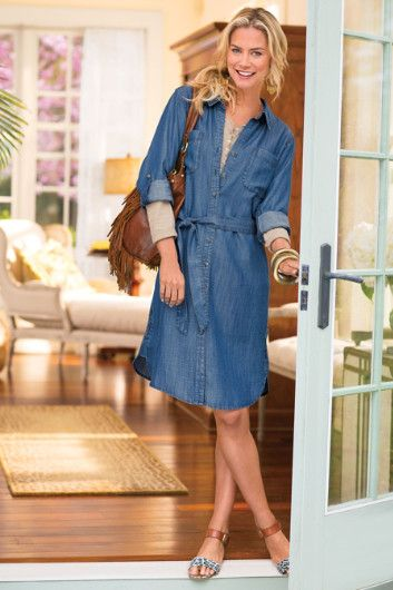 Subtly textured, softly draping denim Tencel® shirtdress offers easy one-stop dressing.