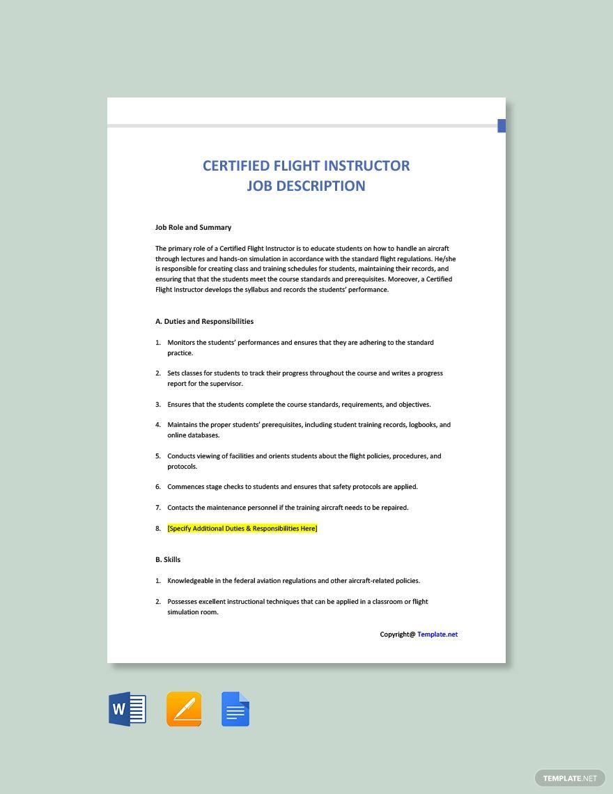 Free Certified Flight Instructor Job Description In 2020 Job
