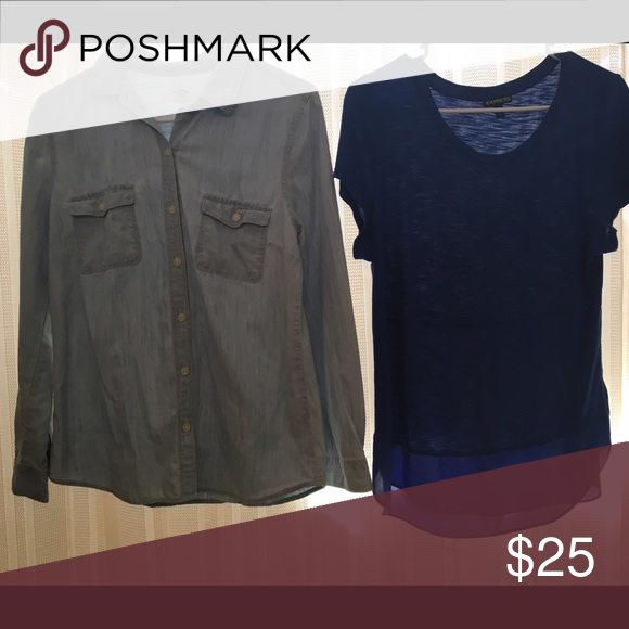Two for one -Express Bundle ! Old navy on left denim top is size xs but fits more like small / medium. Express deep blue top with sheer bottom accent is size medium . Both are great condition! Express Tops