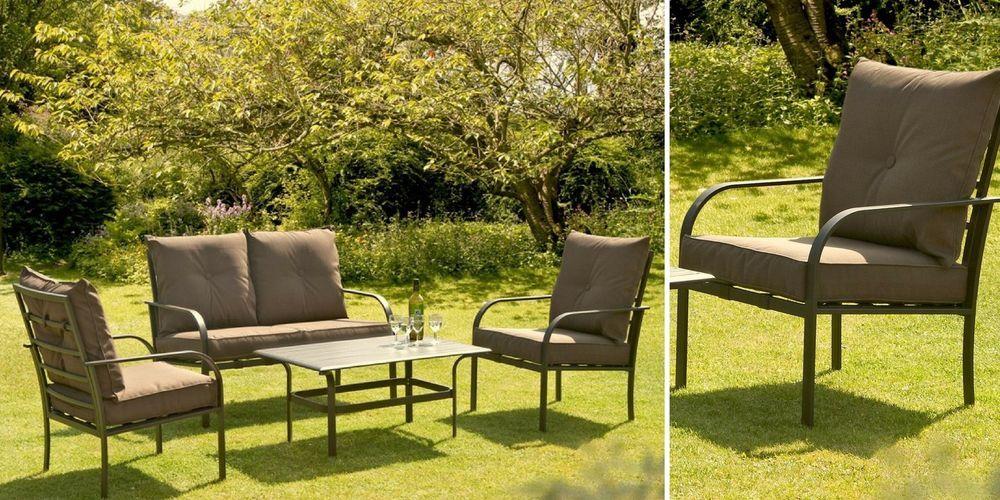 Metal Patio Sofa Set Steel Garden Deck Furniture Coffee ...