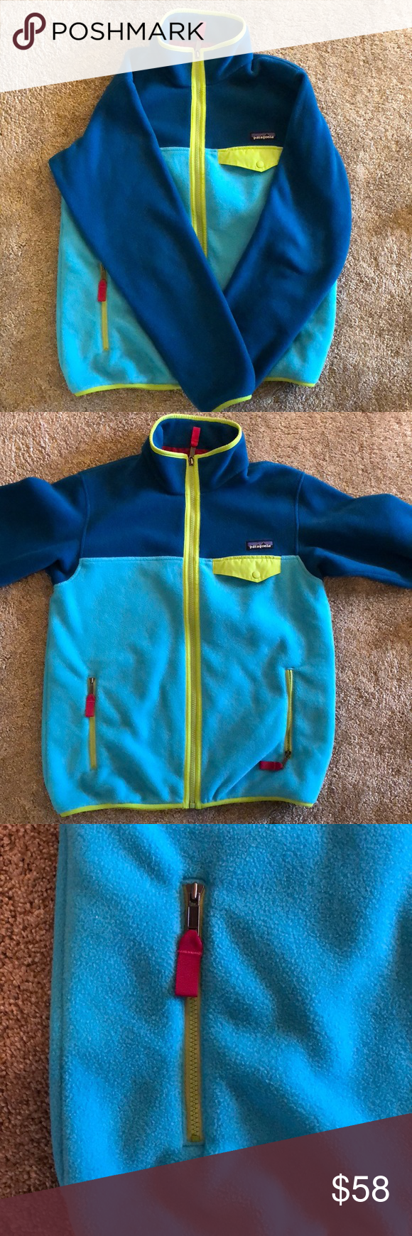 Patagonia zip up fleece jacket in my posh picks pinterest