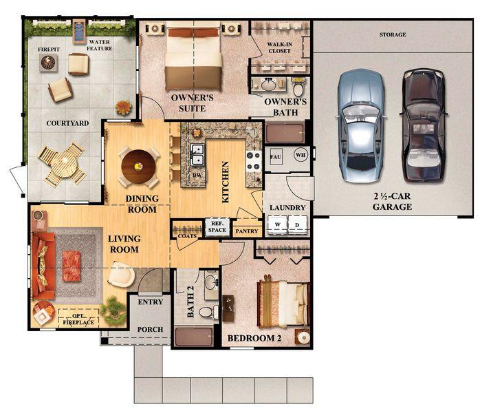 Townhouse Floor Plan 3 Car Garage Google Search: Floor Plan With Garage - Google Search