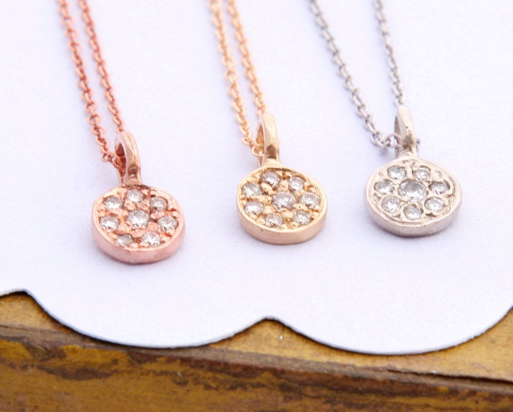 Pave Diamond Pendant,  Florette Charm, 14K Gold Diamond Necklace, Diamond Charm, Gold Charm.. $375.00, via Etsy.