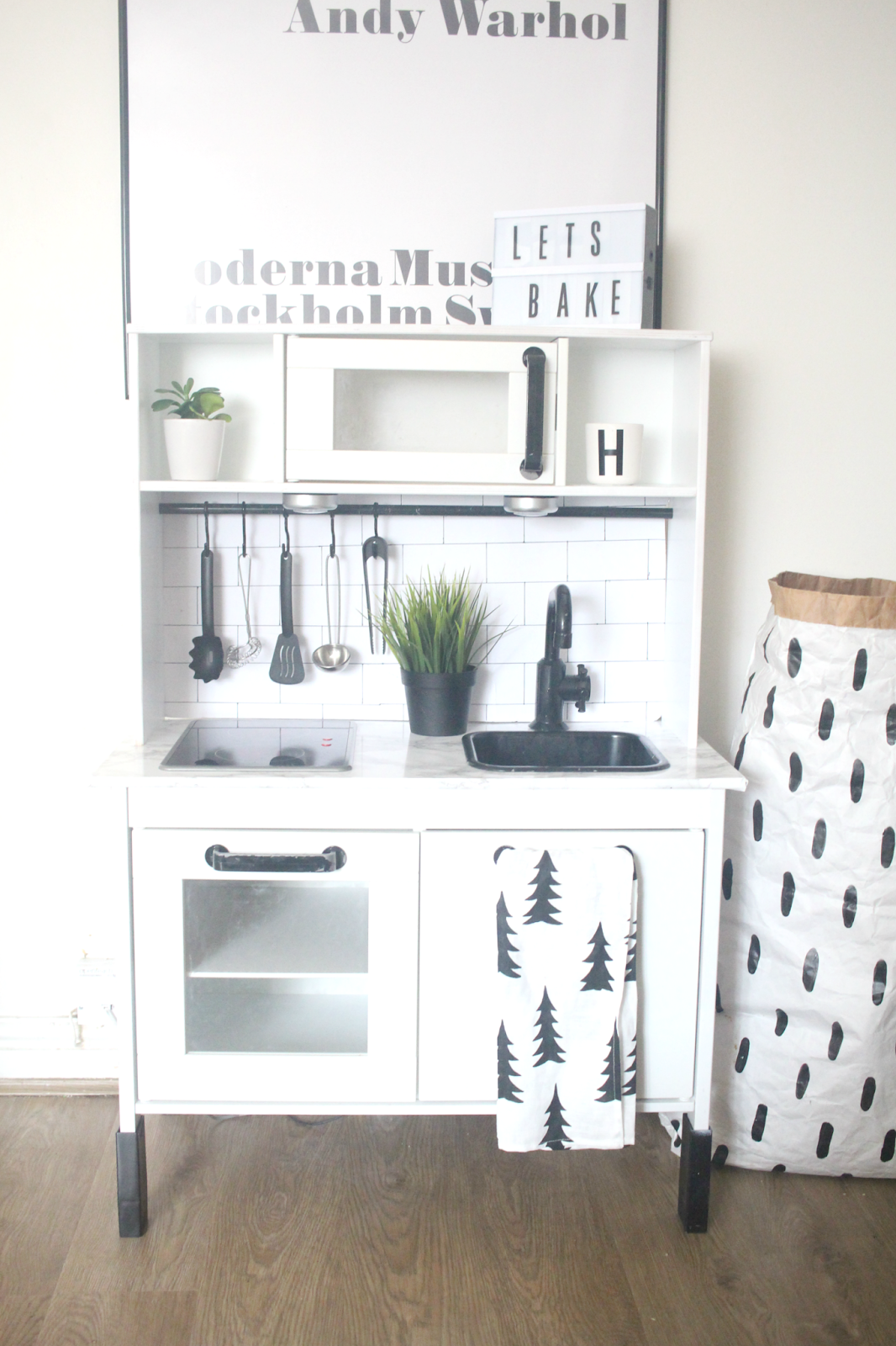 Ikea Hack: Duktig Play Kitchen Monochrome Makeover | Plays, Kitchens ...