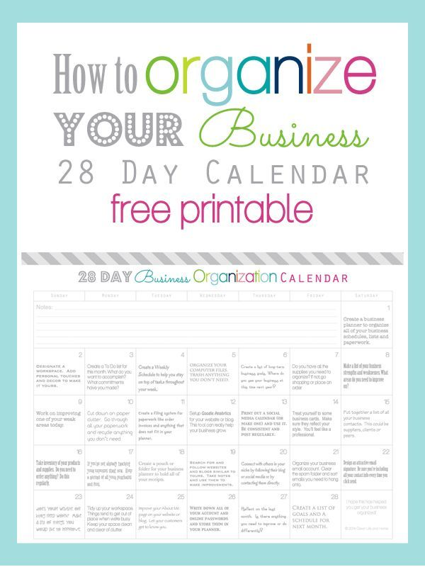 Clean Life and Home How To Organize Your Business in 28 Days - printable accounting forms