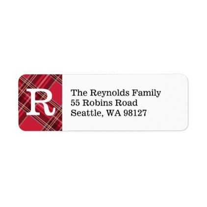 Red Plaid Monogram Return Address Label - holiday card diy