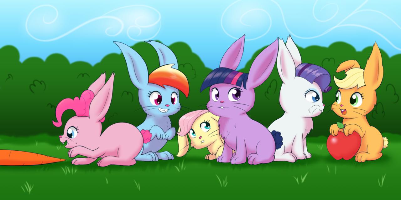 #1080114 - apple, applejack, artist:empyu, bunnified, bunny, carrot, cute, eyes on the prize, fluttershy, food, fuzzy, grin, :i, mane six, my little bunny, my little x, open mouth, pinkie pie, rabbit, rainbow dash, rarity, safe, sitting, smiling, species swap, twilight sparkle - Derpibooru - My Little Pony: Friendship is Magic Imageboard