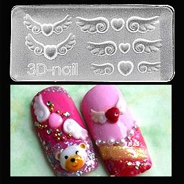 Hearts with Wings-3D Molds take the tedious hand work & time out of 3D nail art! With the ability to use them with gel or acrylic the limits are endless! $6.95