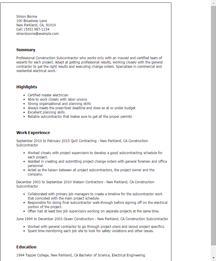 resume templates construction subcontractor sample admission ...