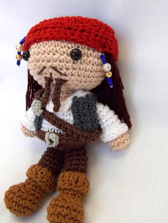 Captain Jack Sparrow Pirates of Carribean amigurumi crochet doll ...