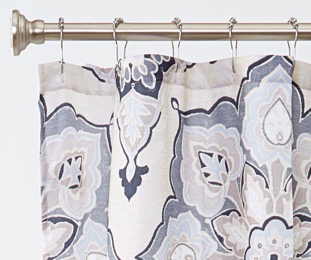 Aprima Rhapsody Beige Gray Medallion Fabric Shower Curtain In