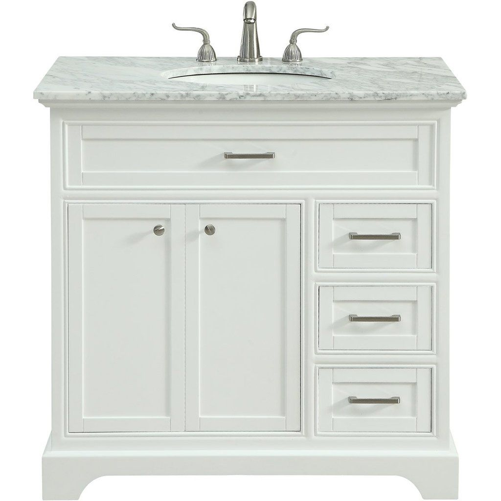 Americana 36 X 35 3 Drawer 2 Door Vanity Cabinet White Finish Vf15036wh Single Bathroom Vanity Paint Cabinets White Vanity Set