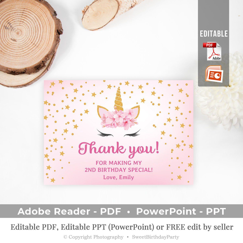 editable birthday thank you card printable unicorn theme