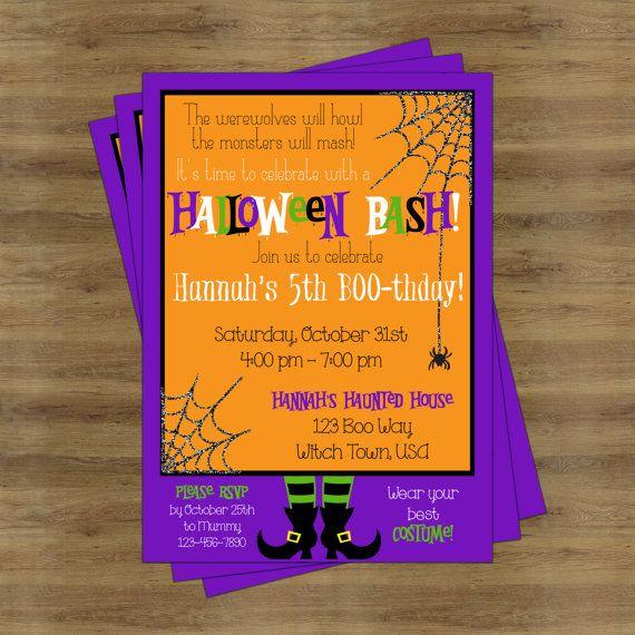 Halloween Birthday Invitation Halloween Party Invitations