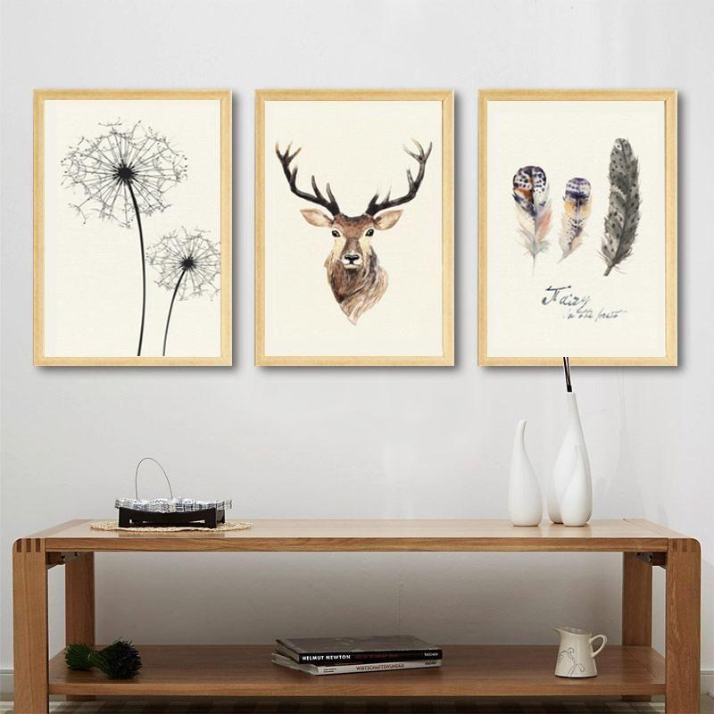 Rustic Vintage Nordic Nature Wall Art Fine Art Canvas Prints Dandelion Deer And Feathers Cottage Art Posters For Living Room Decora Sanat Evleri Tablolar Sanat