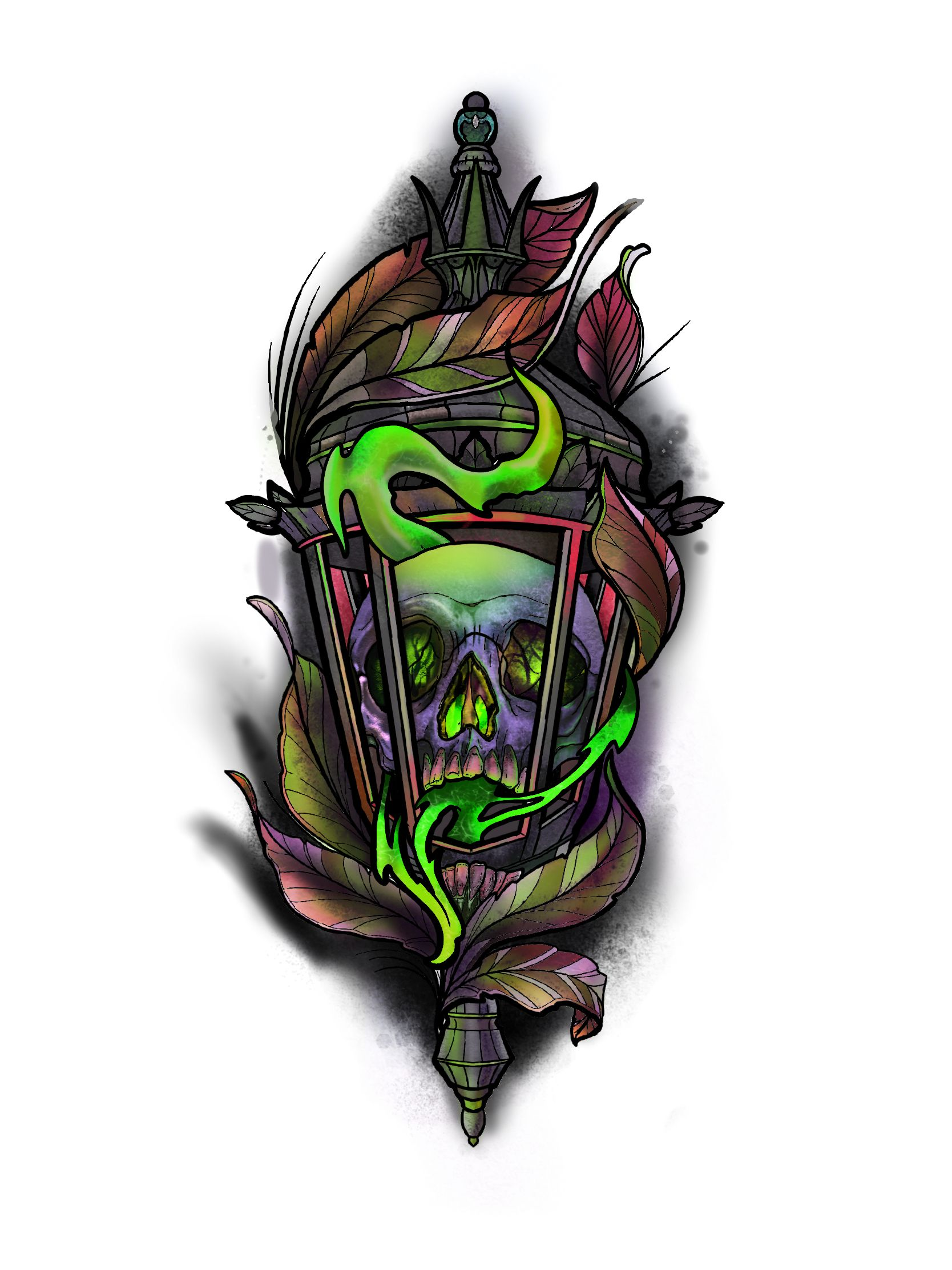Cool neotraditional skull and lantern tattoo design by