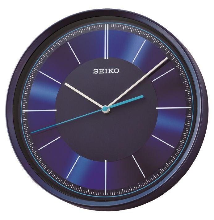 Fantastic Futuristic Wall Clock From Seiko Clocks Metallic Blue Plastic  Case Modern Blue Clock Face Silent