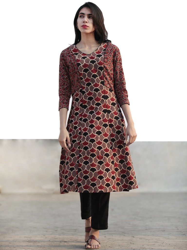 Light Brown Black Red Hand Printed Ajrakh Kurta With Kali KF